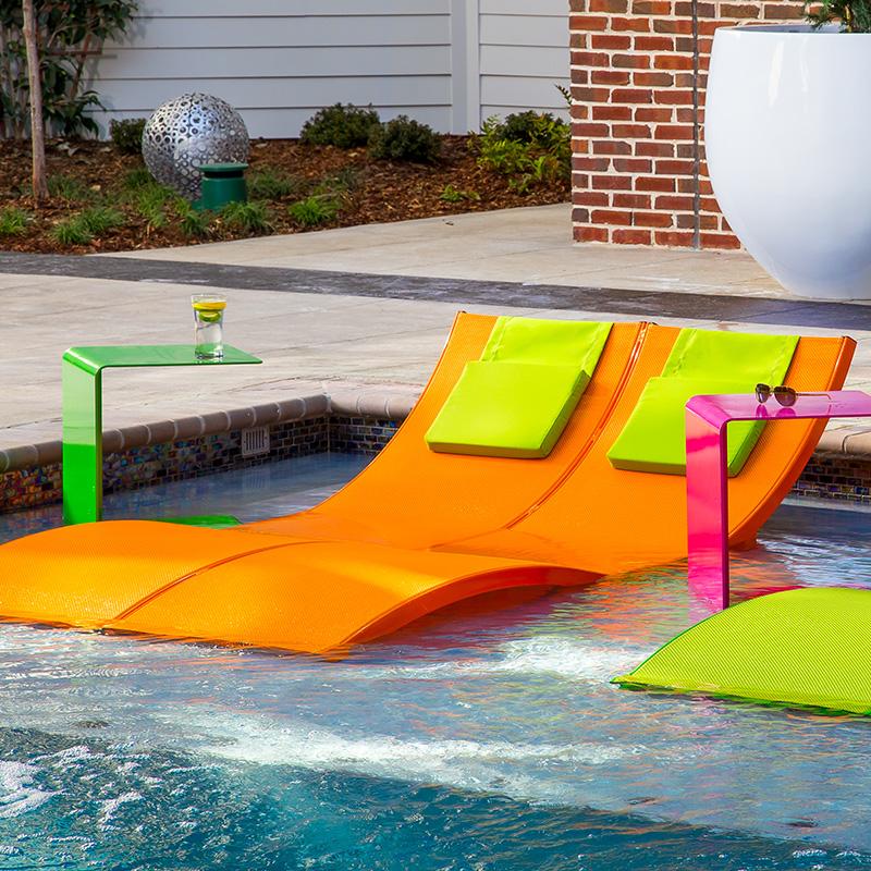 Aqua sling double chaise lounge high end double chaise for Aqua chaise lounge
